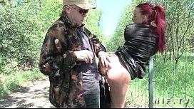French redhead slut gets...