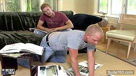 Blonde gays banging their...