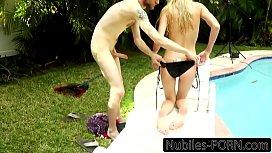 Busty Blonde Fucks Pool...