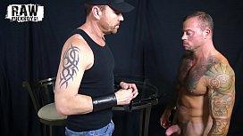 RawFuckBoys - Tatted muscle daddy Sean Duran face fucks blindfolded jock