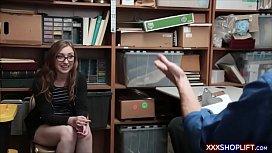Geek shoplifter chick gets...