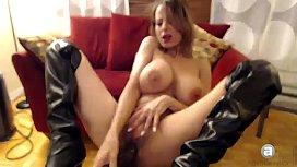 Creamy Pussy Slut Fucks herself with huge black dildo