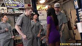 Horny Mechanics Gangbang Ebony...