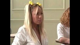 Two blonde naughty girls suck teacher'_s cock after school