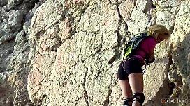 Blonde Alpinist Climbs on...