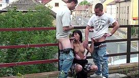 Insane public sex threesome...