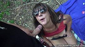 Naughty gangbang wife swallows...