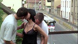 PUBLIC sex gangbang threesome with teen girl on a train bridge on a street - xvnxx