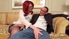 Redhead tgirl in stockings...