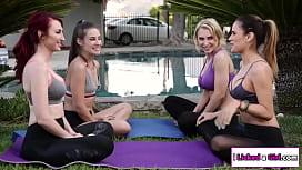 Busty chicks fuck their yoga teacher