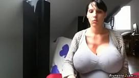 Hot brunette hiding her...