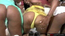 Ebony trannies enjoy a...