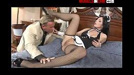 Brunette housemaid in lingerie...