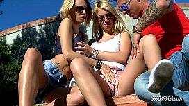 Hot busty chicks swap...