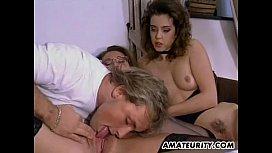 Amateur FFM threesome action...