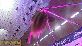 Blonde pole dancer show...