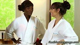 Ebony masseuse creampie...