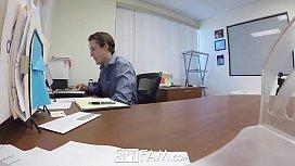 SpyFam Step son office...