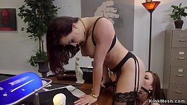 Lesbian boss anal strap on fucks employee