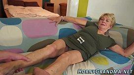 Fuzzy grandma spunked...