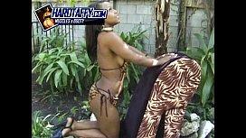 Slim black bikini model...