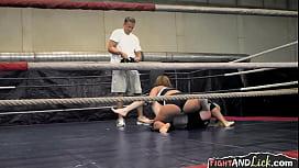 Naughty amateur lesbians wrestling...