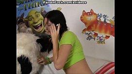 Hot brunette has real fuck with Panda bear