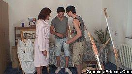 Old grandma and boys...