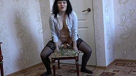 A brunette in stockings...