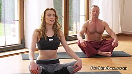 Yoga teacher fucks blonde...