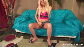 Sexy blonde girl masturbates...