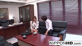 Busty Japanese secretary gives...
