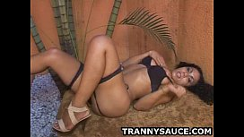 Foxy tranny babe Monica Rodrigues tu ...