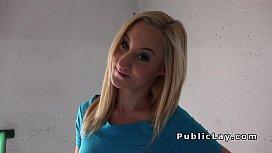 Sexy blonde banged through...