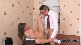 Kissable schoolgirl gets tempted...