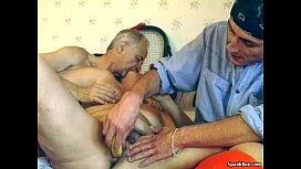 Hairy granny enjoys threesome...