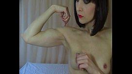 Flexing topless...