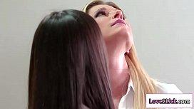 Hot 18yo brunette licked by two milfs
