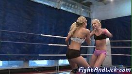 Wrestling dyke pussylicked in...