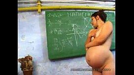 Pregnant teacher touching herself...