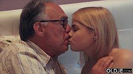 Nympho sucks grandpa cock...