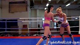 Wrestling les masturbating in the boxing ring