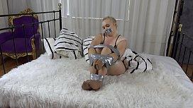 Jade Samantha bound and gagged while pantyhose encased