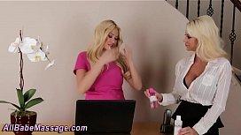 Blonde masseuse gets oral...