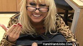Mia Makepeace giving a harsh handjob