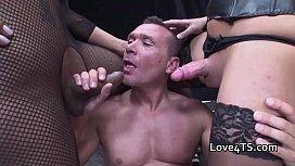 Big cock shemale threesome...