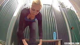 Czech Pool Blonde MILF in Shower