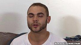 Beautiful trans jerksoff cum...