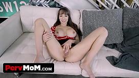 Busty MILF stepmom surprises stepson for good grades