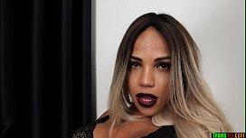 Blonde trans beauty in...